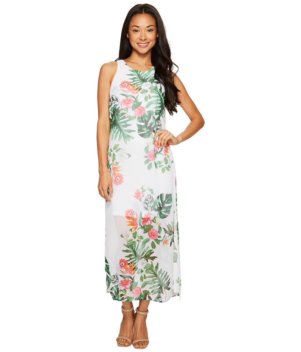 Vince Camuto Specialty Size Petite Sleeveless Havana Tropical Maxi Dress w/ Slits (Ultra White) Women
