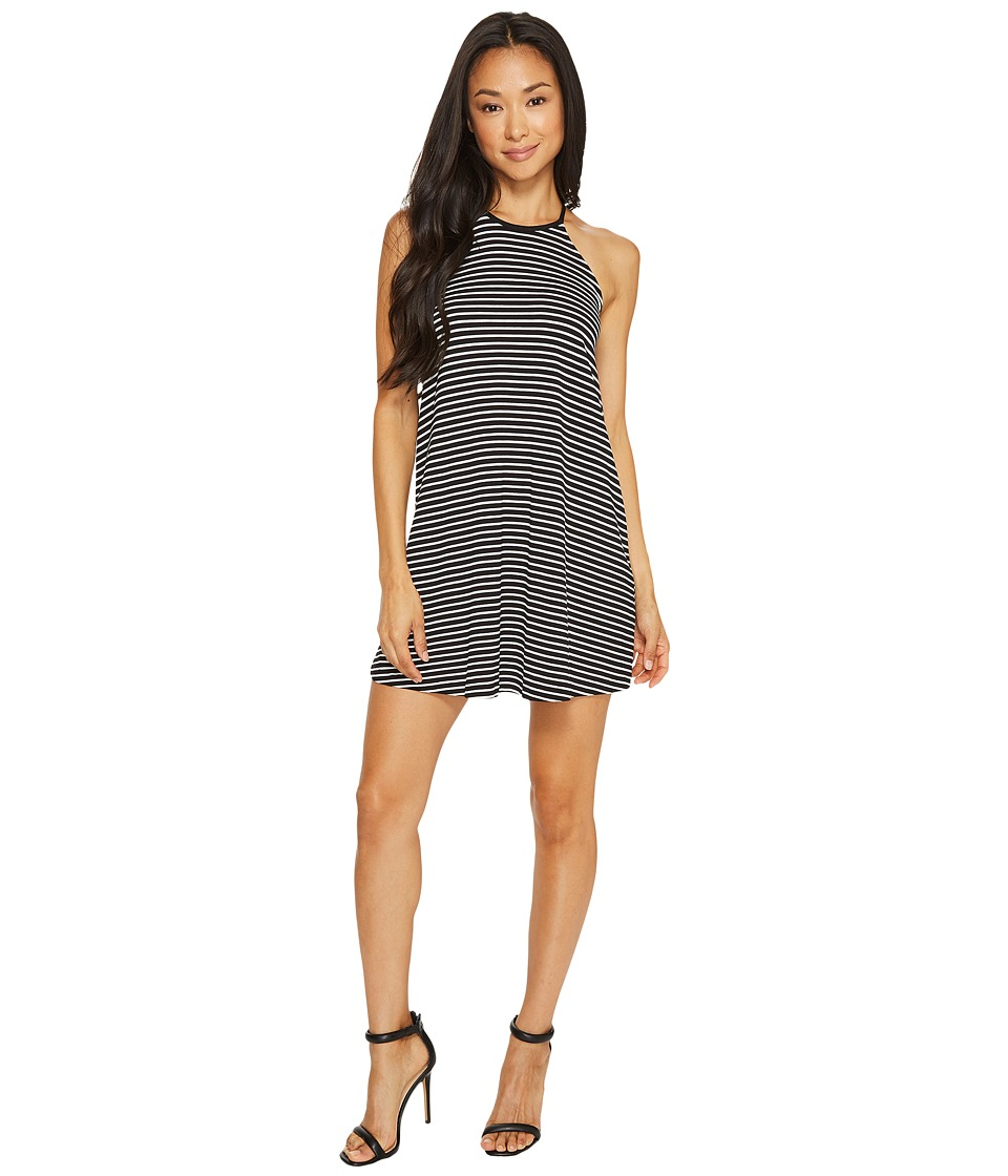 Vince Camuto Specialty Size - Petite Sleeveless Simple Stripe Halter Swing Dress (Rich Black) Women's Dress