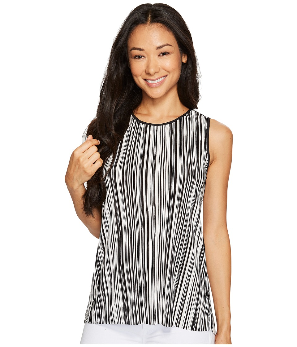 Vince Camuto Specialty Size - Petite Sleeveless Striped Pleated Knit High-Low Top (Rich Black) Women's Clothing