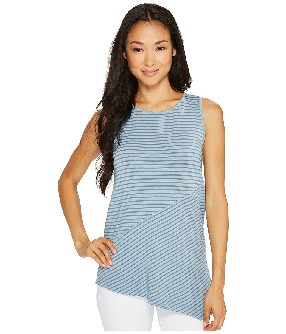 Vince Camuto Specialty Size - Petite Sleeveless Asymmetrical Hem Simple Stripe Top (Aqua Sphere) Women's Clothing