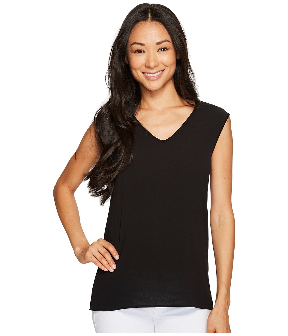 Vince Camuto Specialty Size - Petite Extend Shoulder V-Neck Mix Media Textured Top (Rich Black) Women's Clothing