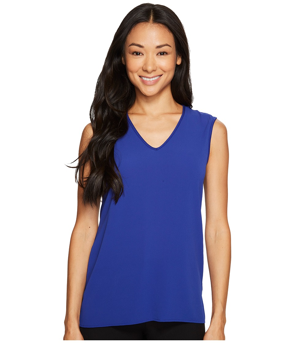 Vince Camuto Specialty Size - Petite Extend Shoulder V-Neck Mix Media Textured Top (Nile Blue) Women's Clothing