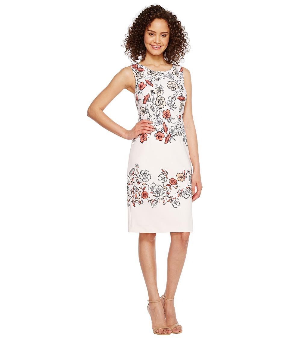 Ivanka Trump - Floral Print Sleeveless Scuba Crepe (Blush/Tart) Women's Sleeveless