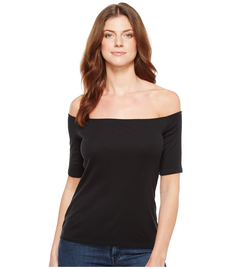 Splendid Off Shoulder Top (Black) Women's Short Sleeve Pullover