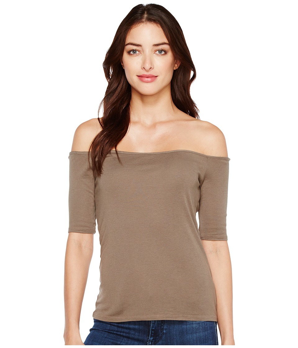 Splendid Off Shoulder Top (Military Olive) Women's Short Sleeve Pullover
