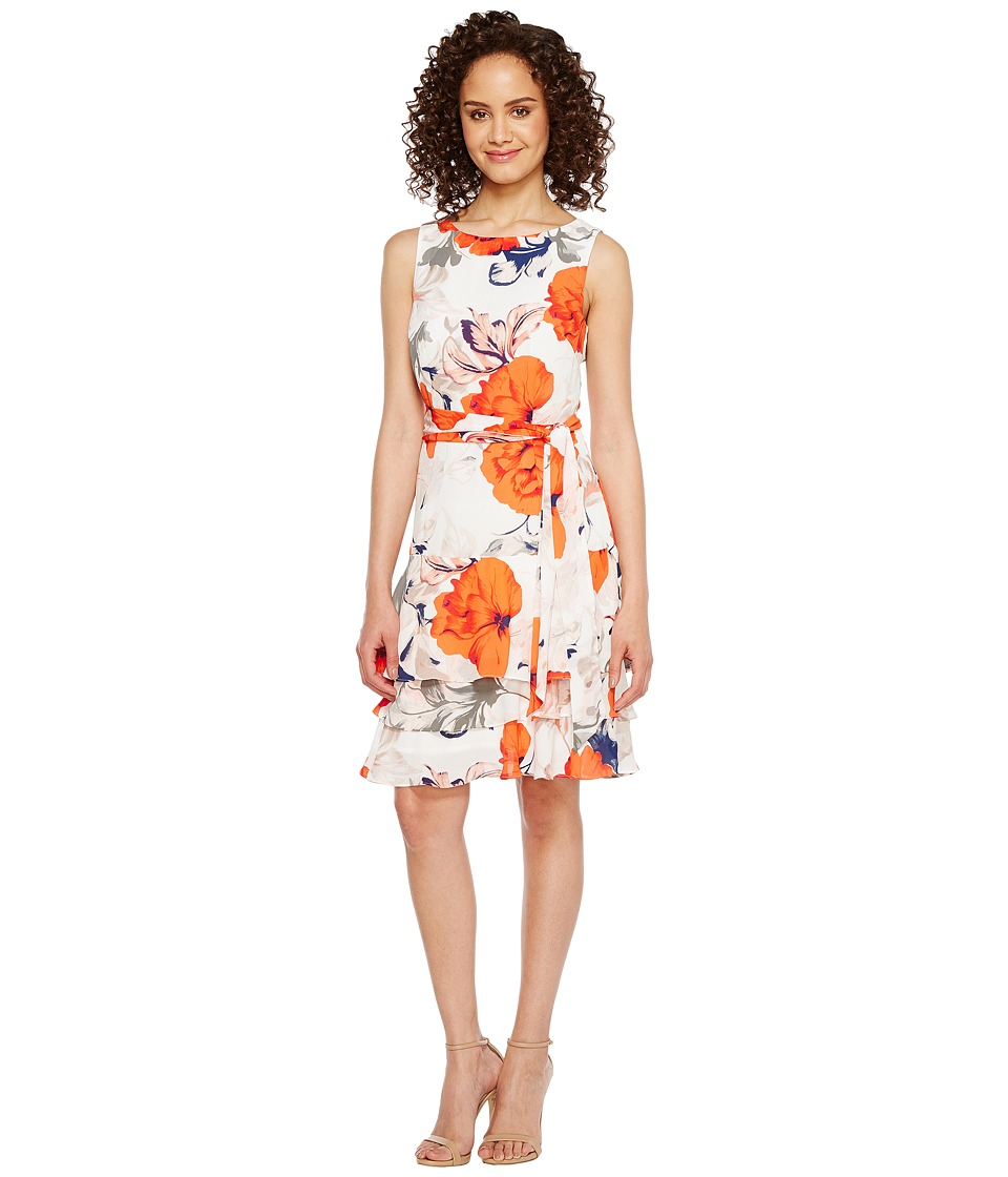 Ivanka Trump - Georgette Sleeveless Ruffle Hem Floral Print Belted Tie Dress (Ivory/Chili) Women's Dress