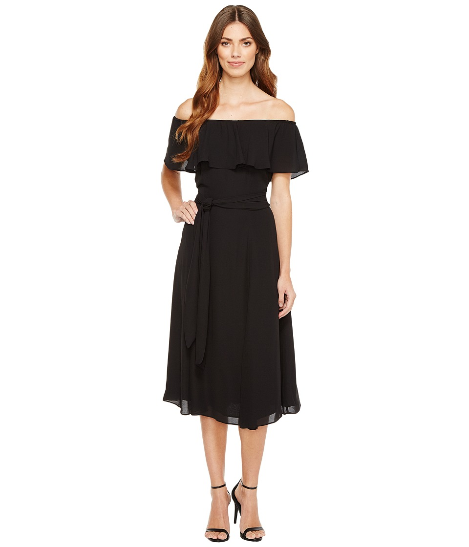 Ivanka Trump - Georgette Off the Shoulder Ruffle Belted Tie Waist Midi Dress (Black) Women's Dress