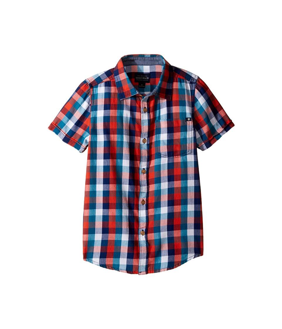 Lucky Brand Kids - Pier Short Sleeve Camp Shirt in Twill (Big Kids) (Black Iris) Boy's Clothing