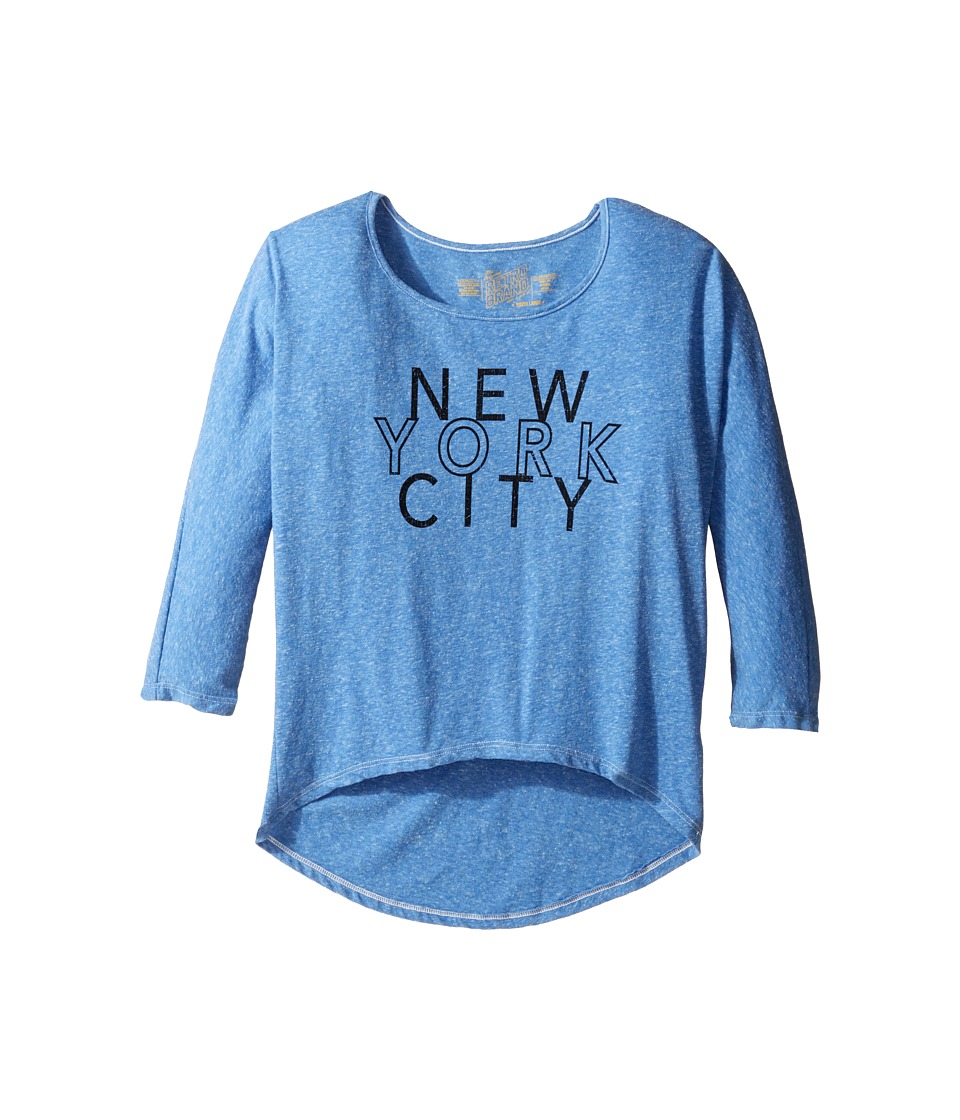 The Original Retro Brand Kids - New York City 3/4 Dolman Sleeve (Big Kids) (Streaky Blue) Girl's Clothing
