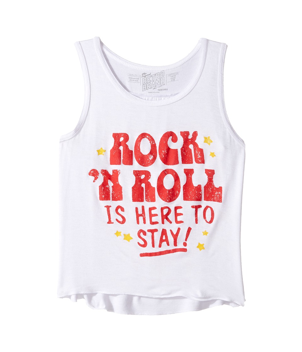 The Original Retro Brand Kids - Rock N Roll is Here to Stay Rayon Tank Top (Big Kids) (Rayon White) Girl's Sleeveless