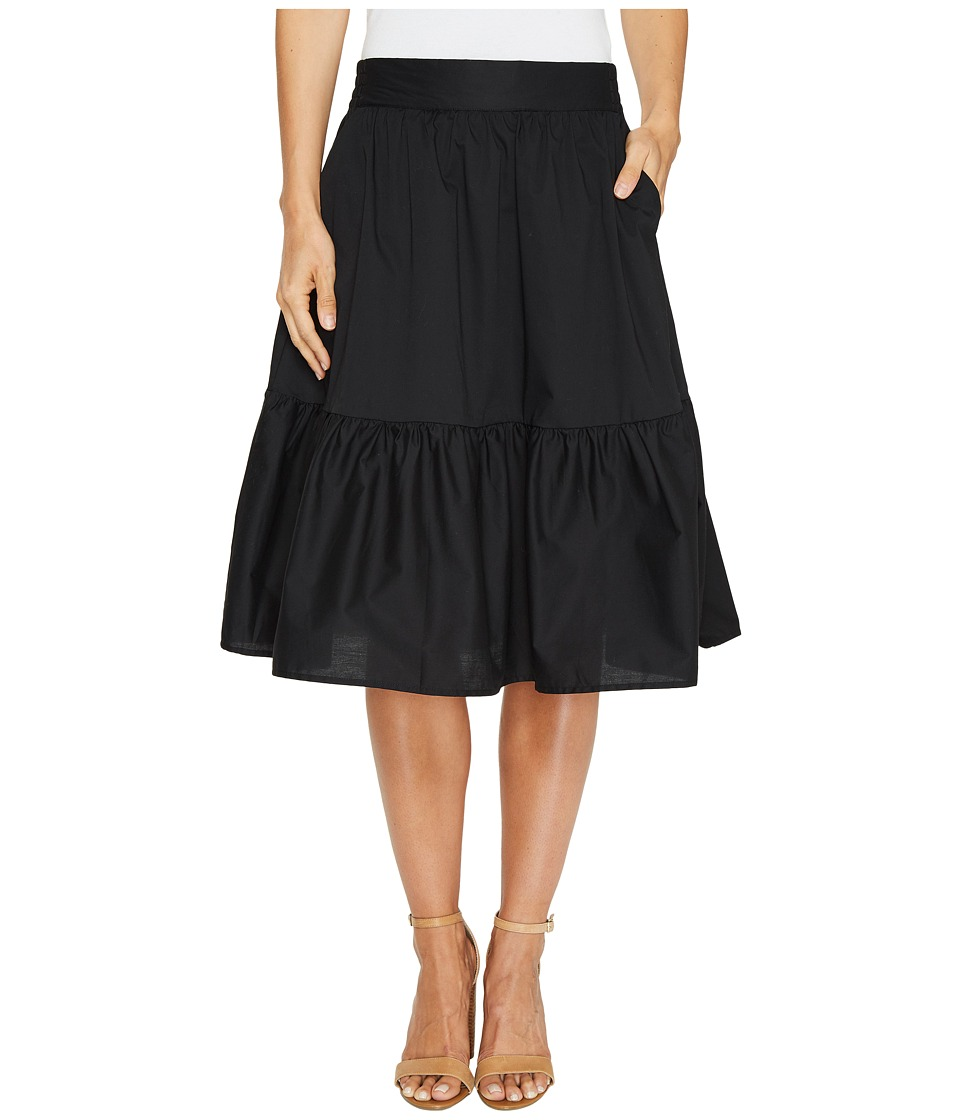 Splendid - Poplin Knee Length Skirt (Black) Women's Skirt