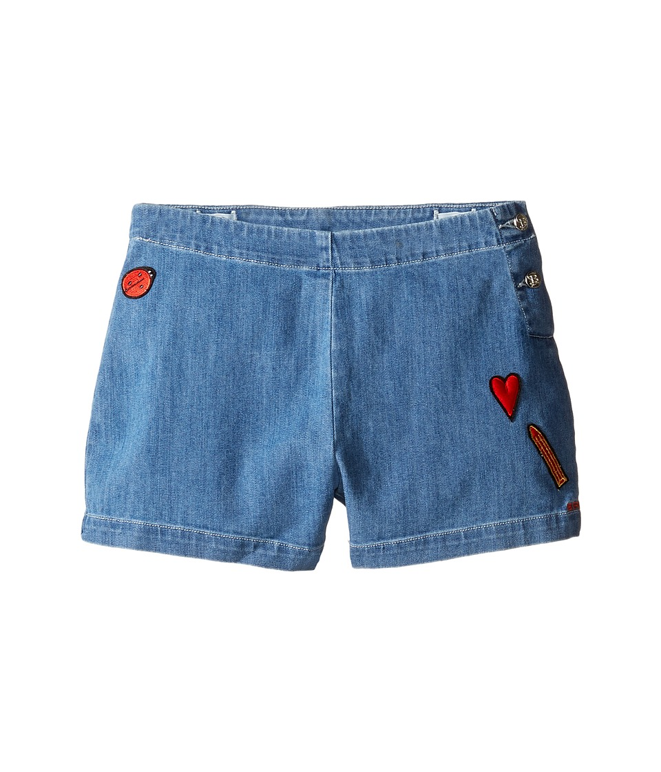 Sonia Rykiel Kids - Denim Shorts w/ Patch Detail On Front (Big Kids) (Washed Blue) Girl's Shorts