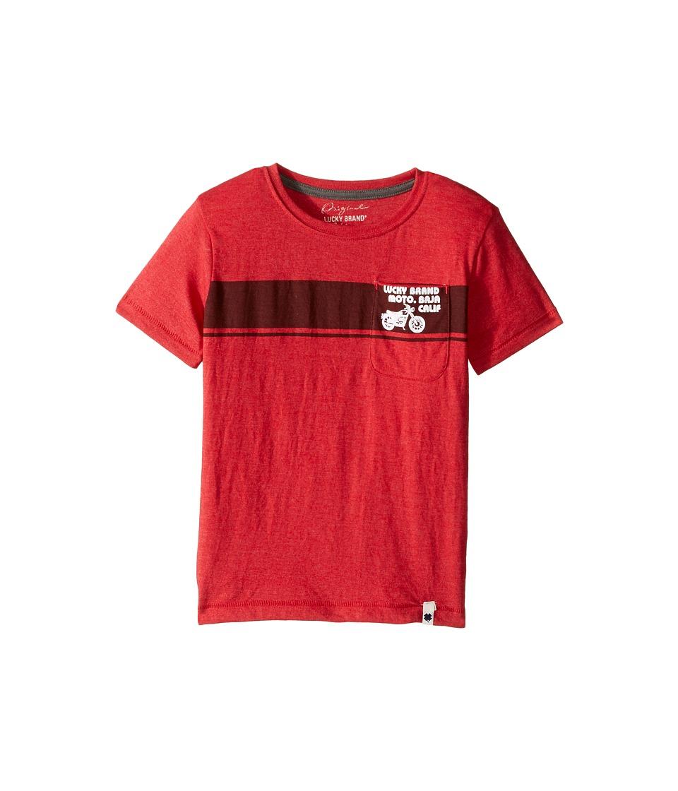 Lucky Brand Kids - Moto Tee Heather Jersey Short Sleeve (Little Kids/Big Kids) (Barb Red) Boy's T Shirt