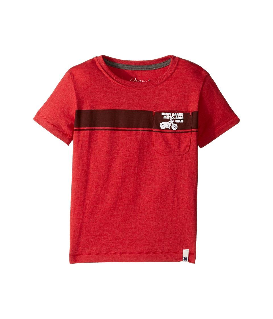 Lucky Brand Kids - Moto Tee Heather Jersey Short Sleeve (Toddler) (Barb Red) Boy's T Shirt