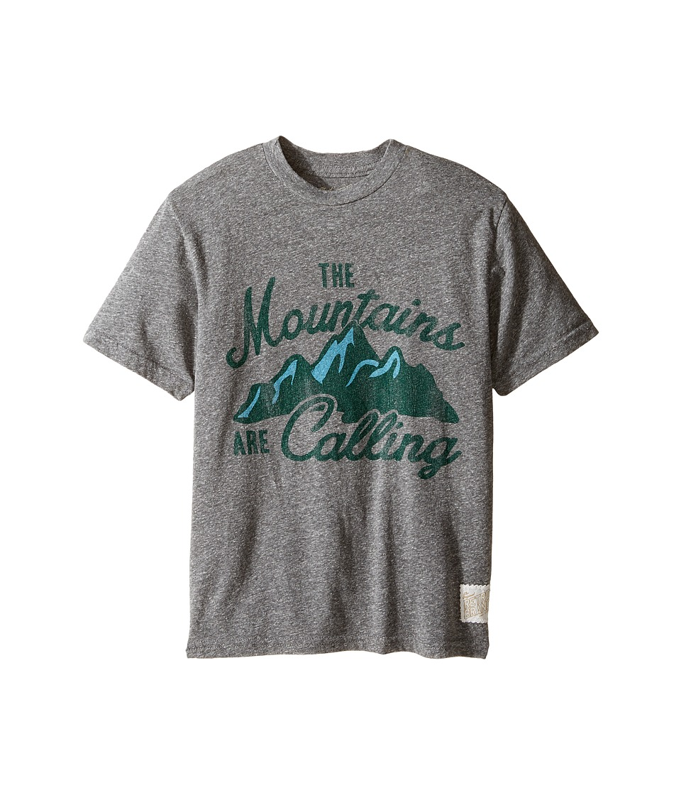 The Original Retro Brand Kids - The Mountains Are Calling Short Sleeve Tee (Big Kids) (Streaky Grey) Boy's T Shirt