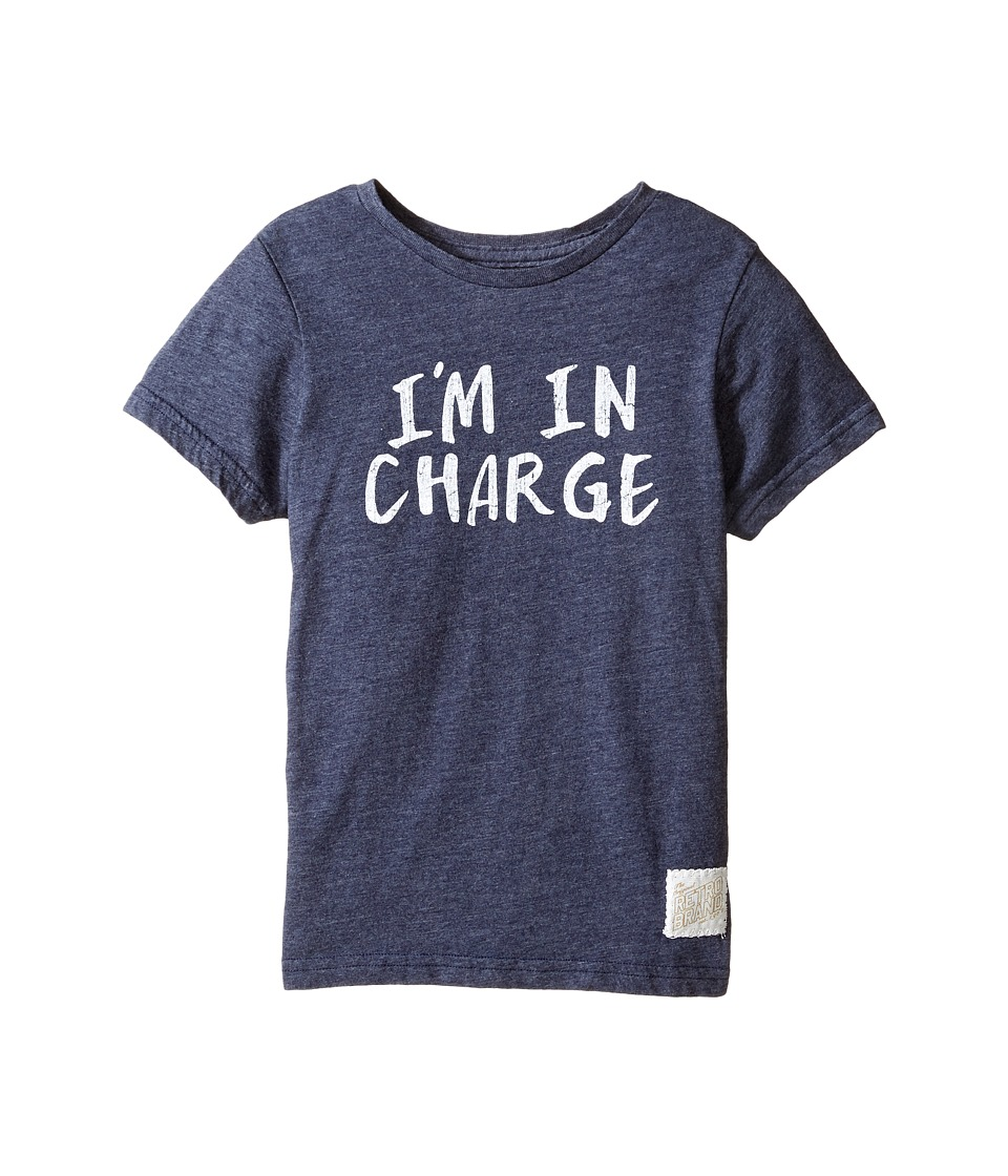 The Original Retro Brand Kids I'm in Charge Short Sleeve Tri-Blend Tee (Little Kids/Big Kids) (Streaky Navy) Boy's T Shirt