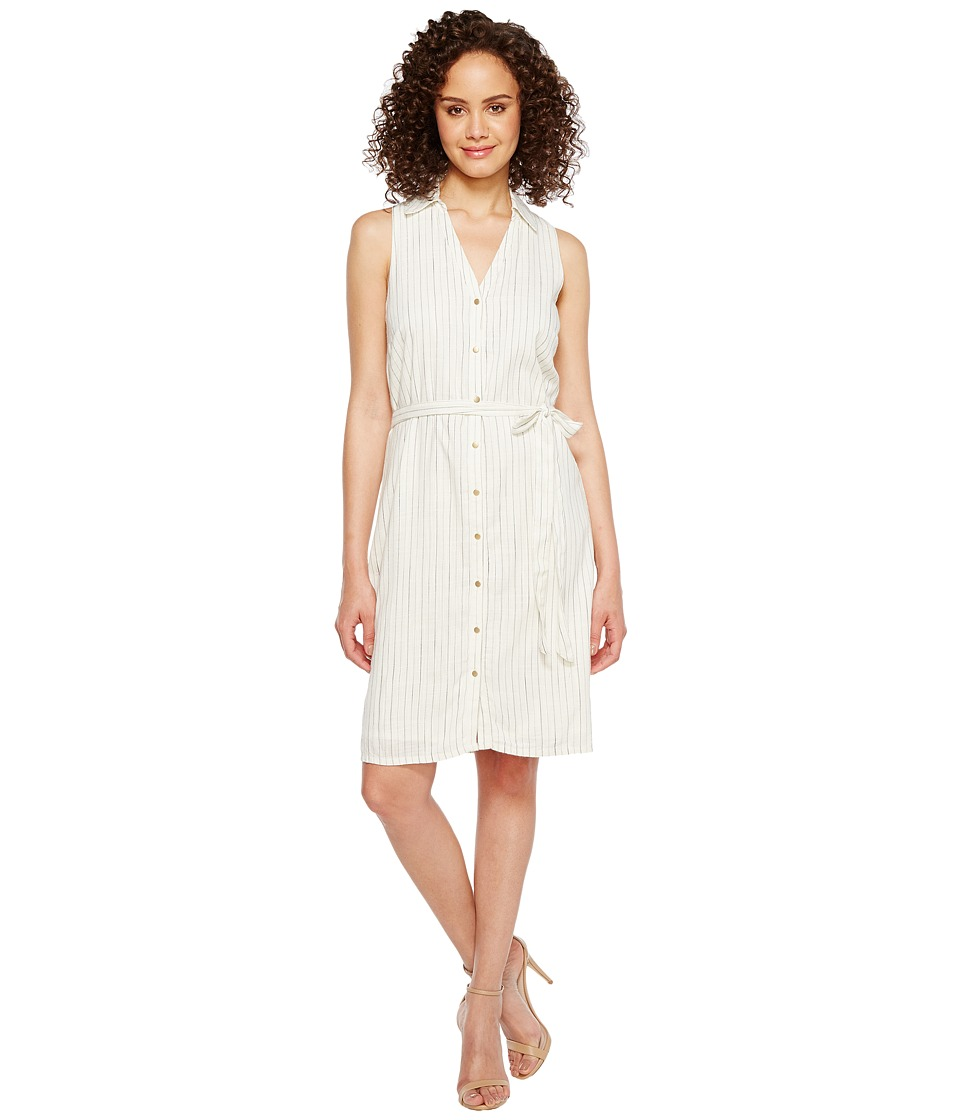 Ivanka Trump - Cotton Blend Stripe Shirtdress (Ivory/Black) Women's Dress