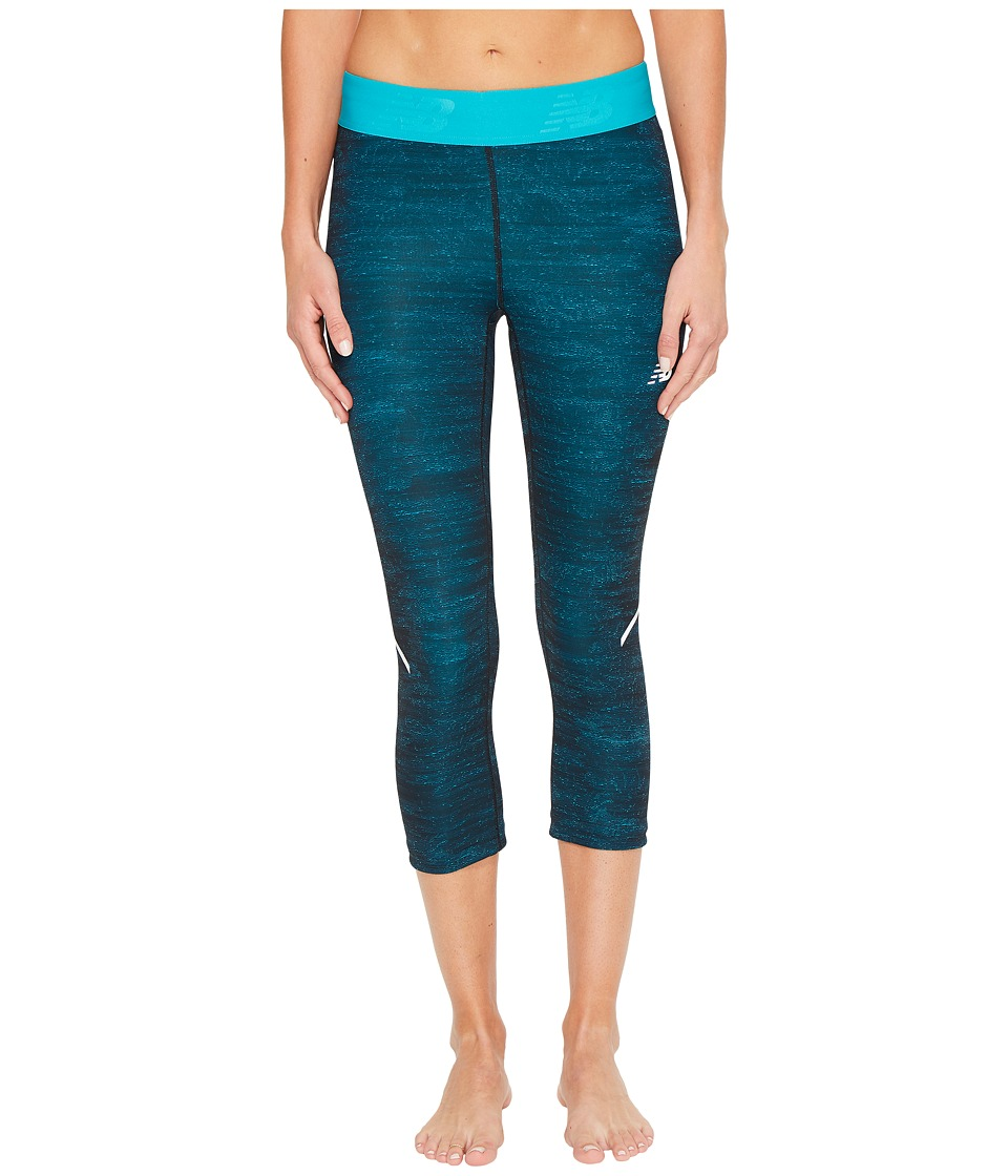 New Balance Printed Accelerate Capris (Pisces Heat Wave) Women