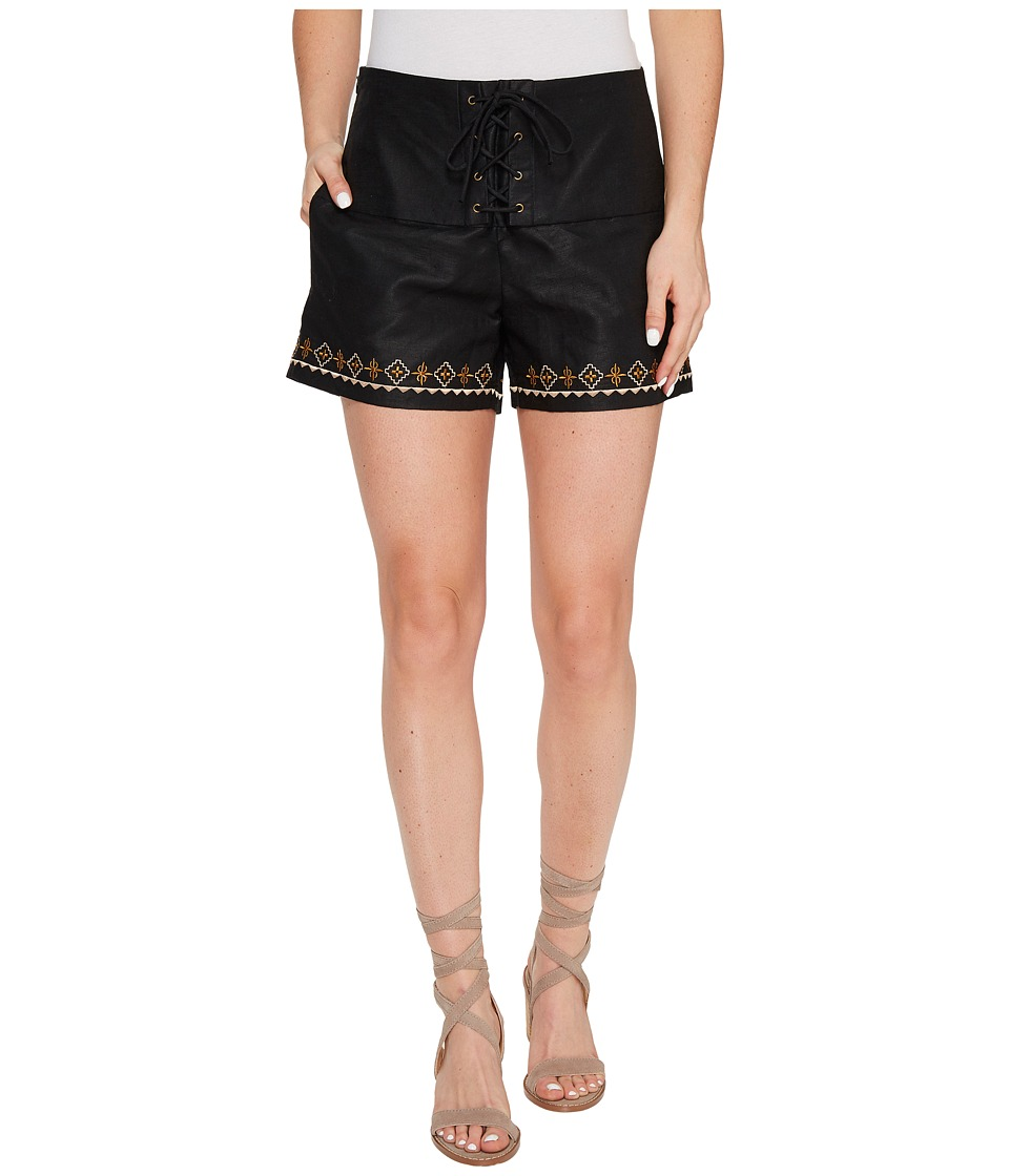 Union of Angels - San Miguel Shorts (Black/Khaki Embroidery) Women's Shorts