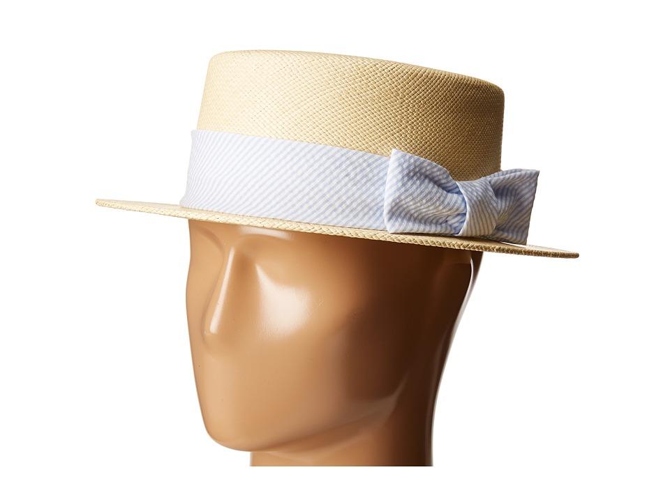 Vineyard Vines - Kentucky Derby Seersucker Straw Derby Hat (Jake Blue) Caps