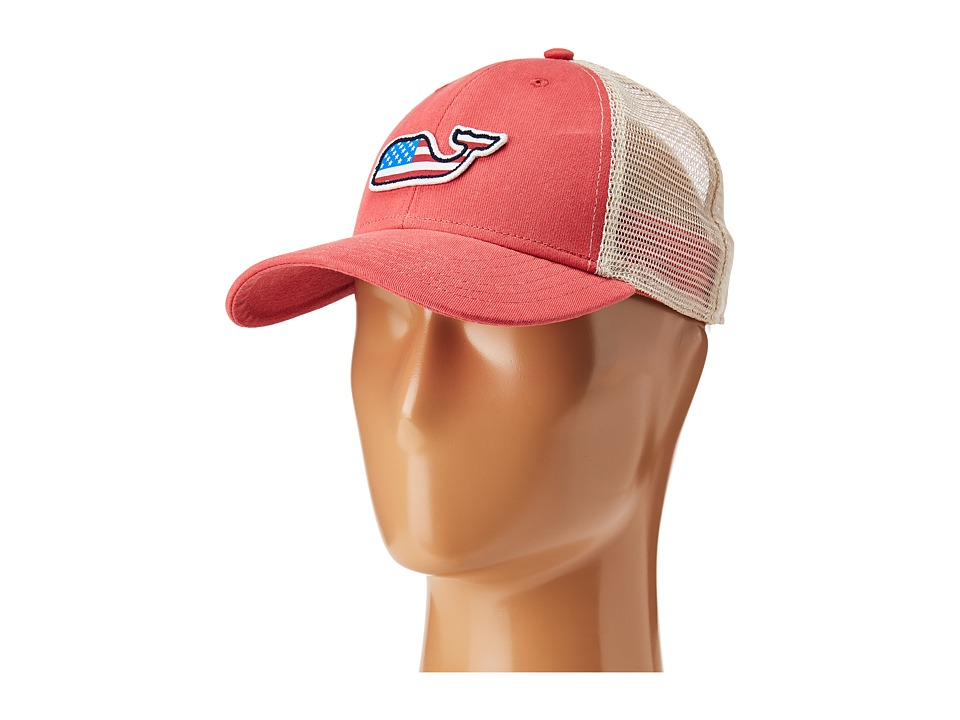Vineyard Vines - Flag Whale Patch Trucker Hat (Jetty Red) Caps