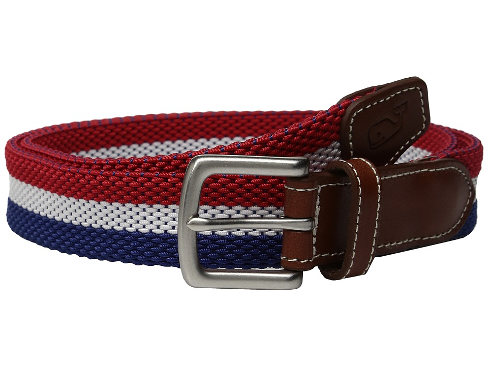 Vineyard Vines - 3 Stripe Bungee Belt (Tomato Check) Men's Belts