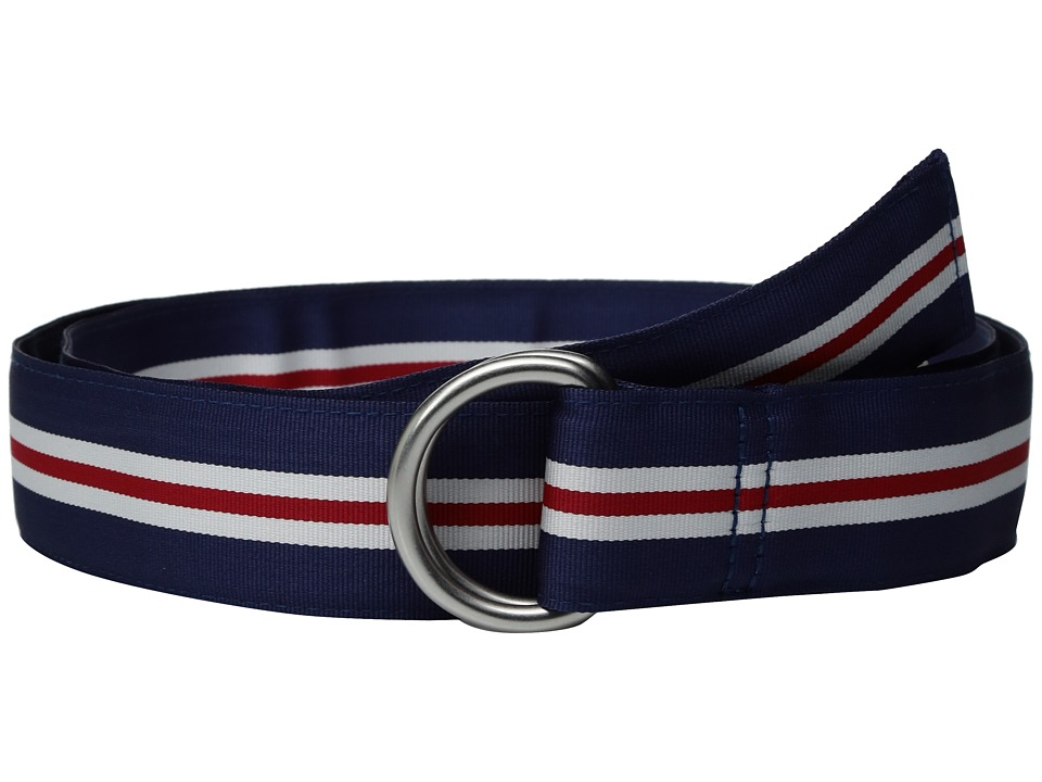 Vineyard Vines - Pop Stripe Ribbin D-Ring Belt (Deep Cobalt) Men's Belts