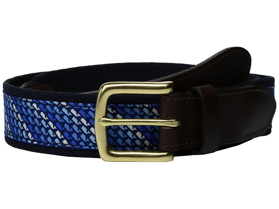 Vineyard Vines - Ombre Whale Canvas Club Belt (Vineyard Navy) Men's Belts