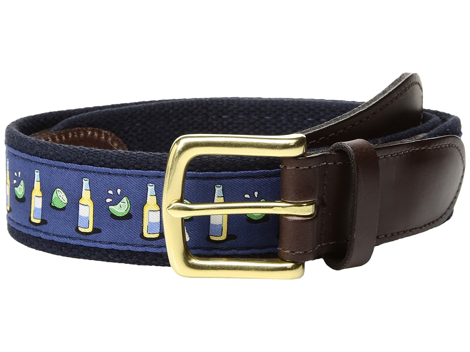 Vineyard Vines - Beer Lime Canvas Club Belt (Vineyard Navy) Men's Belts