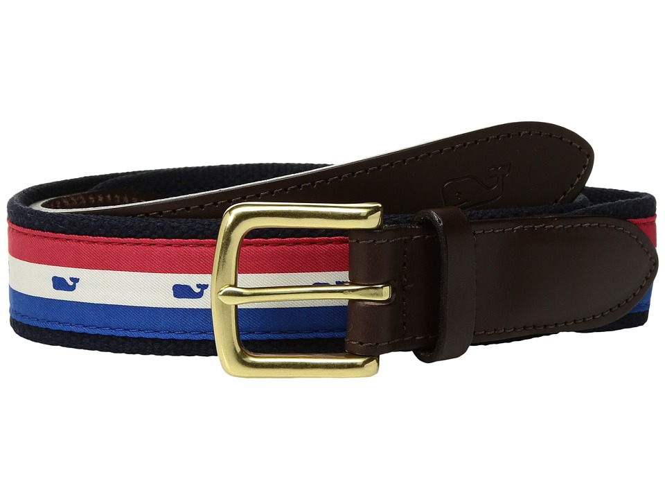 Vineyard Vines - USA Stripe Canvas Club Belt (Parade Red) Men's Belts