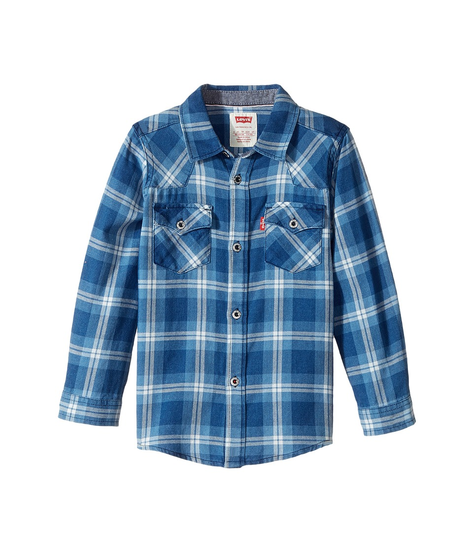 Levi's(r) Kids - Barstow Western Plaid Shirt (Little Kids) (Dress Blues/Marshmellow) Boy's Clothing