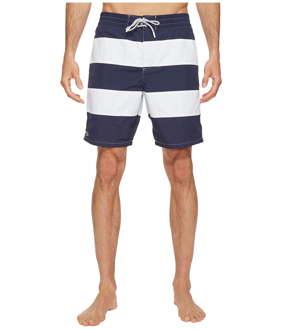 Lacoste - Bold Stripe Long Length (Navy Blue/White) Men's Swimwear