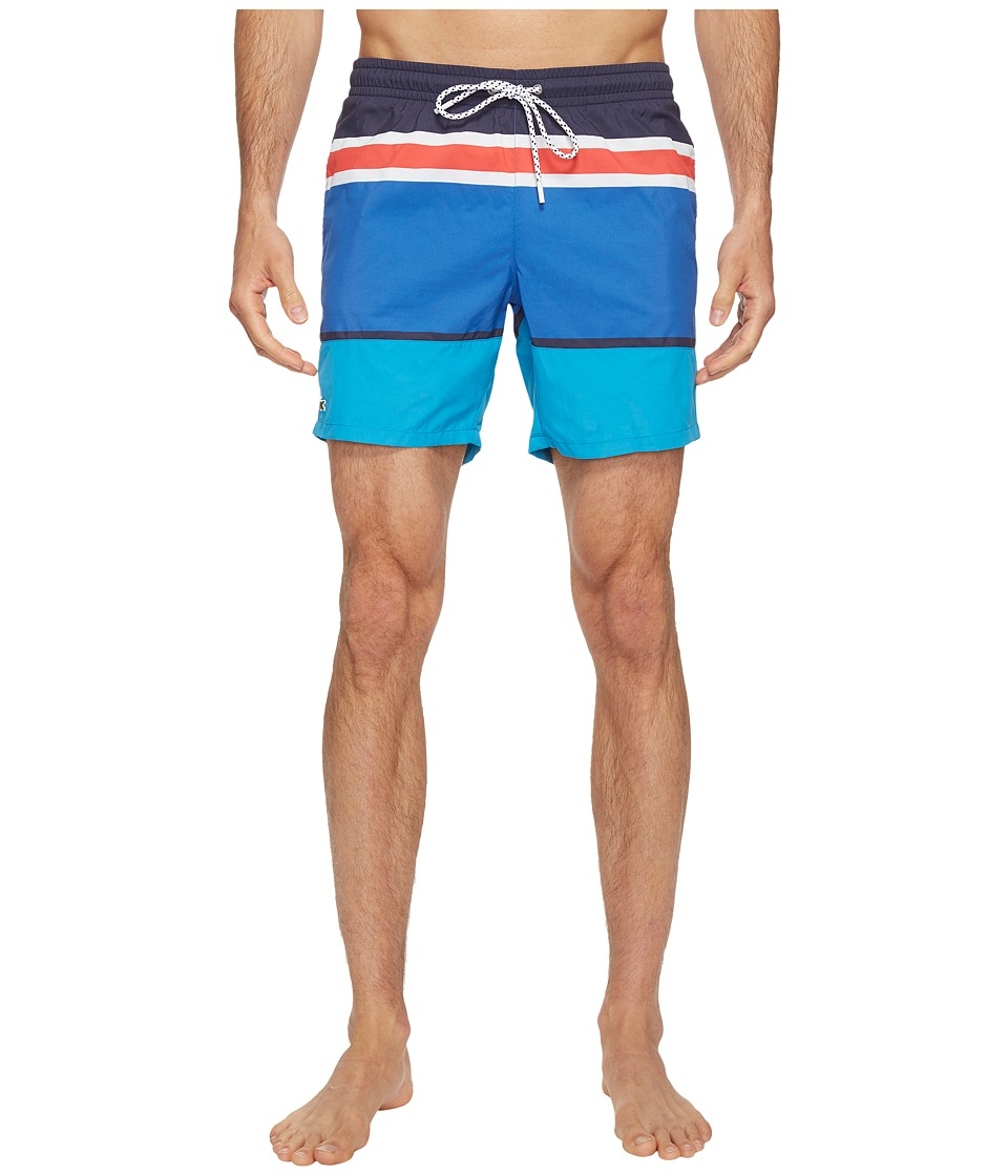 Lacoste - Engineered Stripe Swim Medium Length (White/Navy Blue/Loire Blue/Sapphire Blue/Grenadine) Men's Swimwear