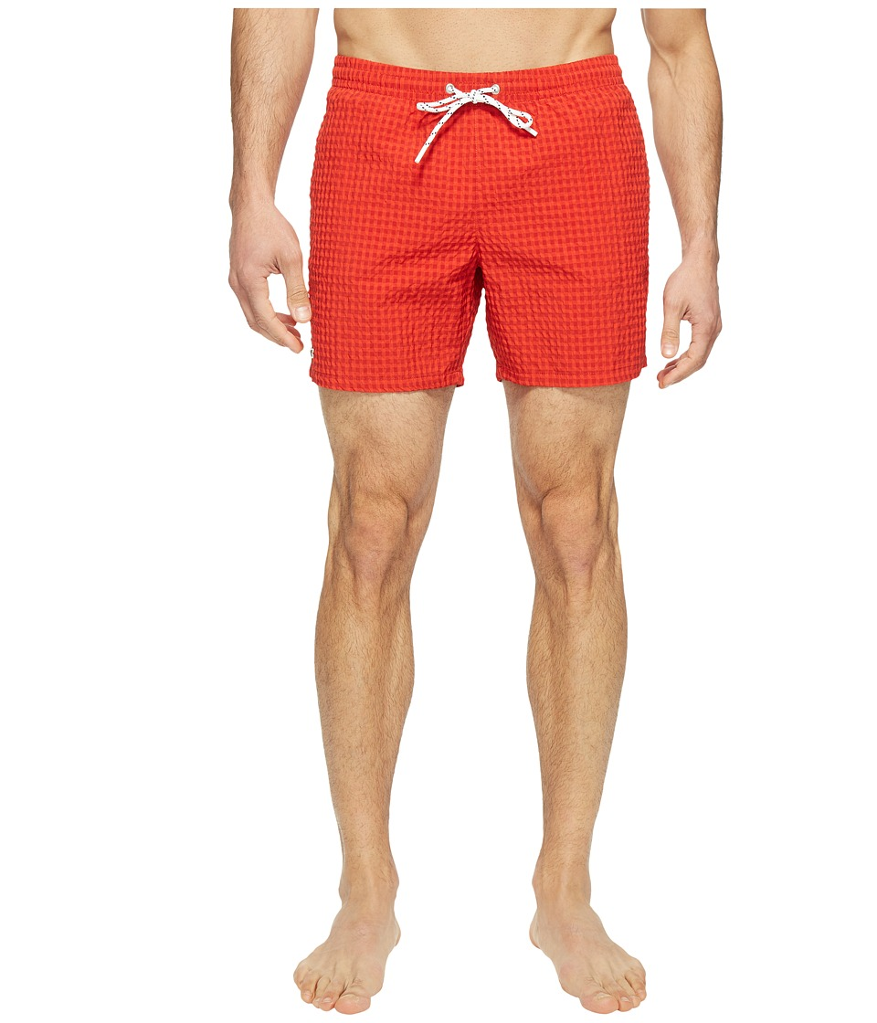 Lacoste - Taffeta Gingham Swim Short Length (Red) Men's Swimwear
