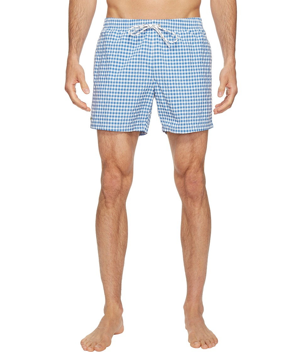 Lacoste - Taffeta Gingham Swim Short Length (Thermal Blue/White) Men's Swimwear
