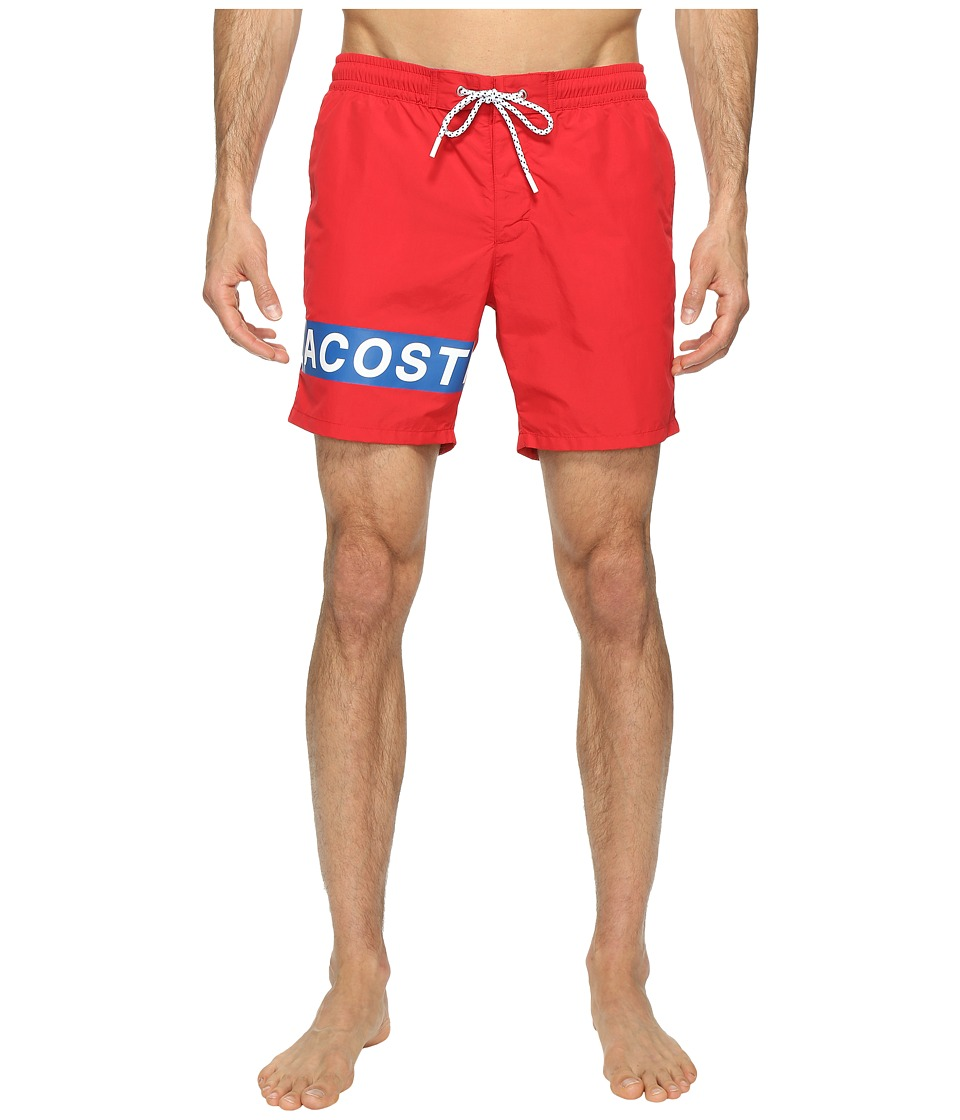 Lacoste Logo Swim Medium Length (Red/White/Sapphire Blue) Men