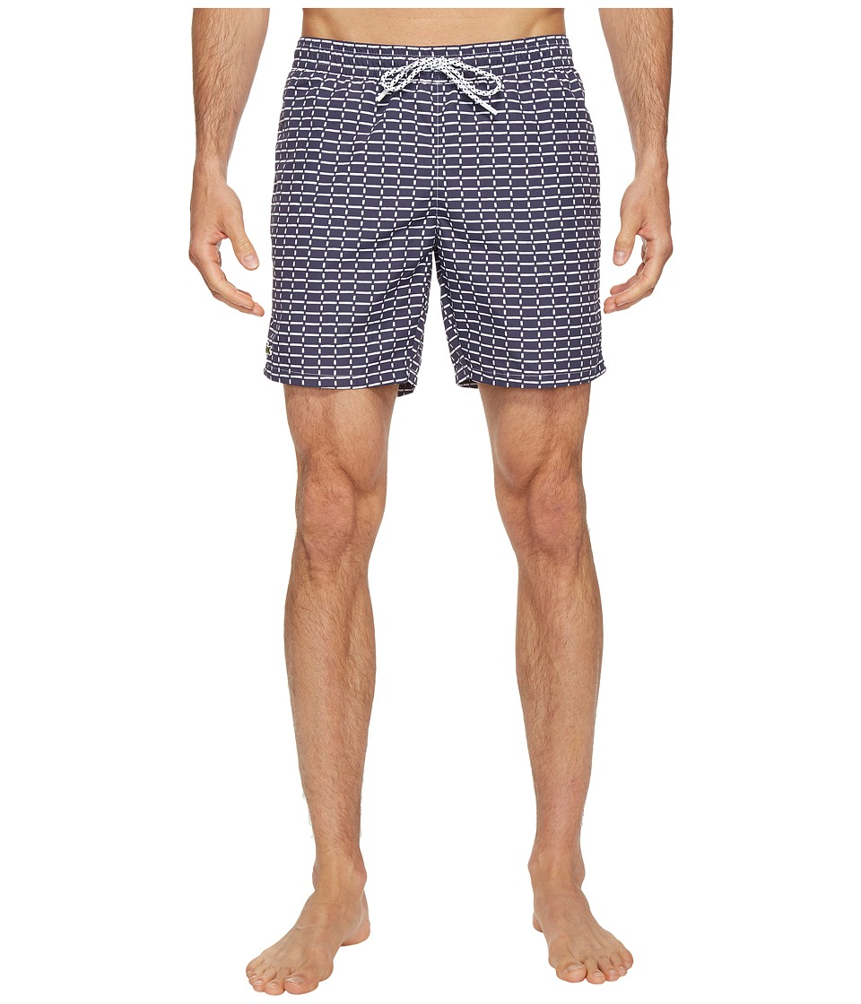 Lacoste - All Over Print Swim Medium Length (Navy Blue/White) Men's Swimwear