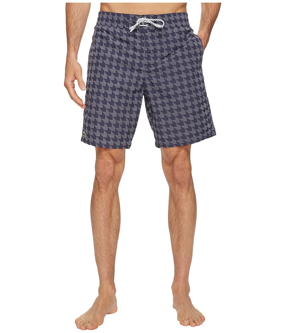 Lacoste - All Over Gingham Print Long Length (Navy Blue/White) Men's Swimwear