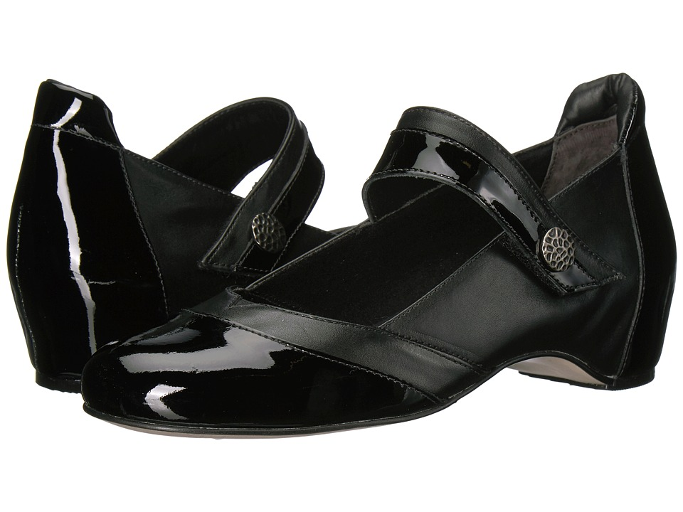 Walking Cradles Kelsey-2 (Black Leather/Black Patent) Women