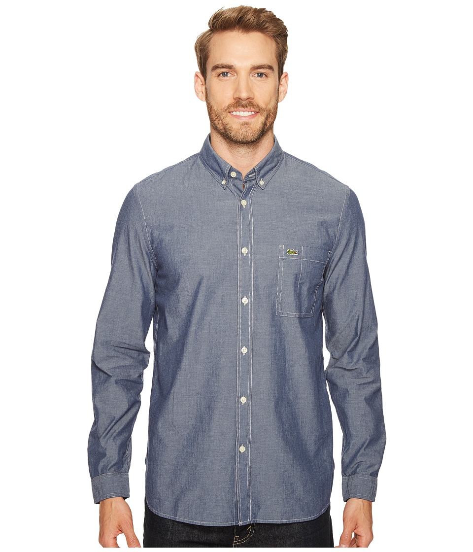 Lacoste - Long Sleeve Bold Chambray Denim w/ Contrasted Stitch (Philippines Blue/White) Men's Long Sleeve Button Up