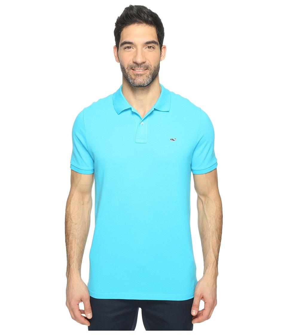 Vineyard Vines - Classic Pique Polo (Caribbean Blue) Men's Short Sleeve Knit