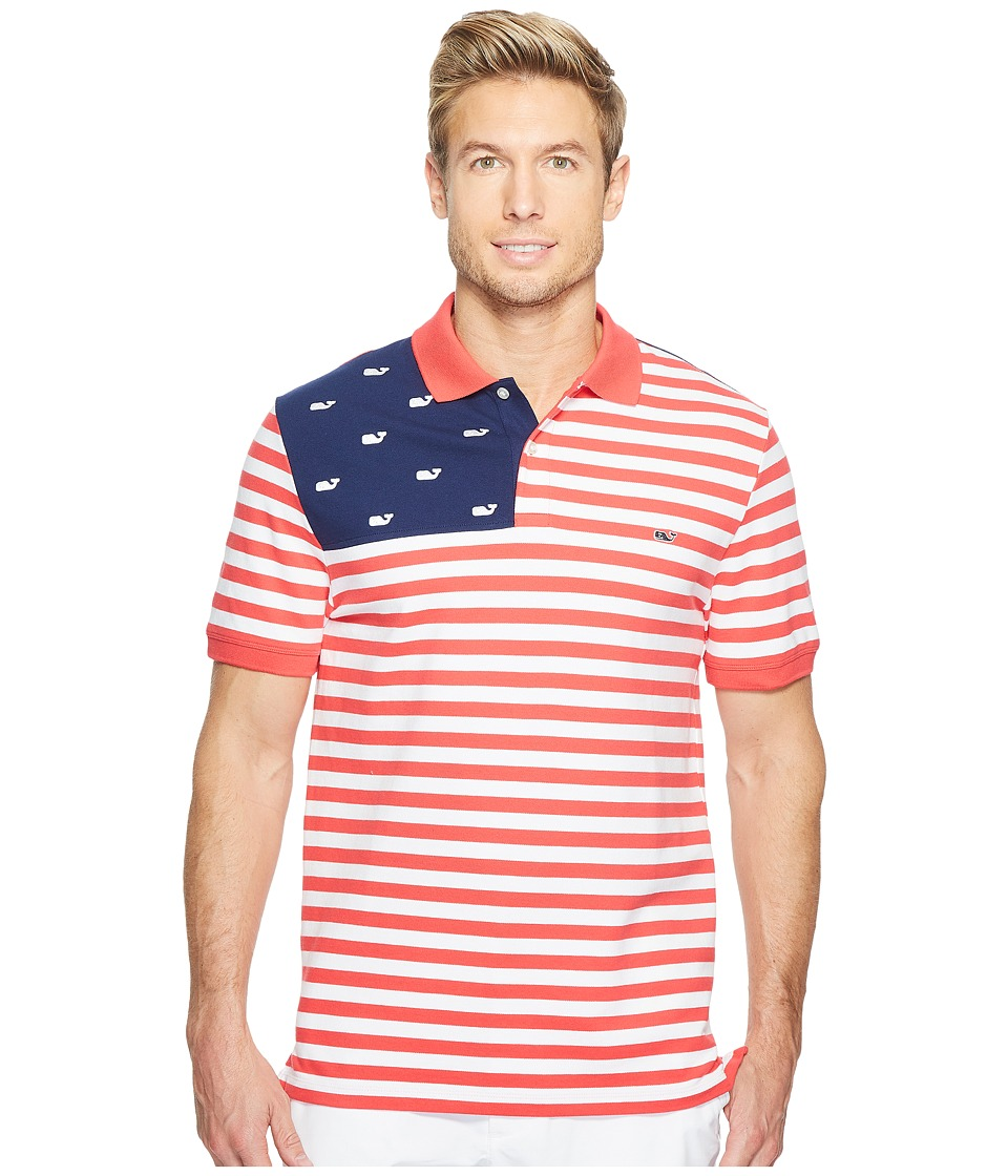 Vineyard Vines - USA Flag Slim Polo (Parade Red) Men's Short Sleeve Pullover