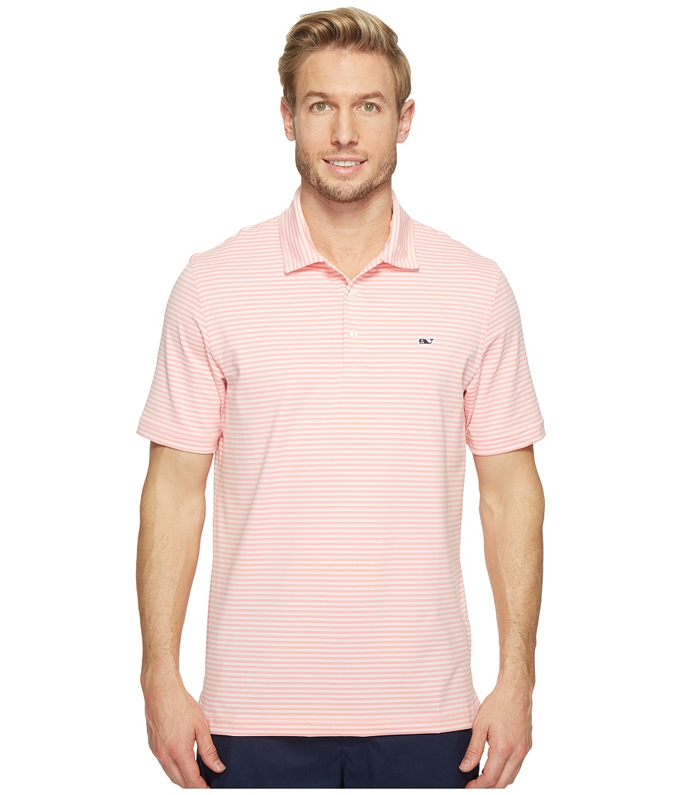 Vineyard Vines Golf - Performance Kennedy Stripe Polo (Flamingo) Men's Short Sleeve Pullover