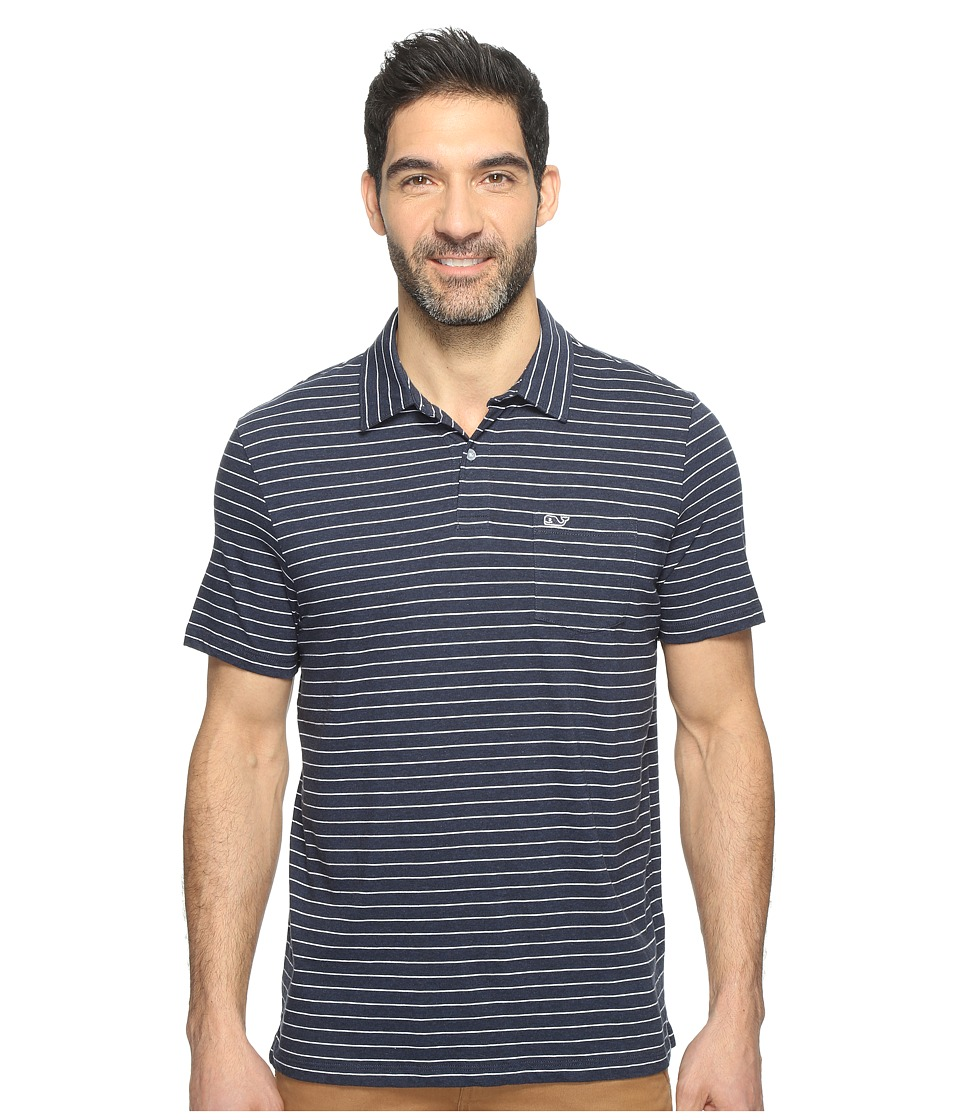 Vineyard Vines - Open Feeder Stripe Polo (Deep Bay) Men's Short Sleeve Pullover