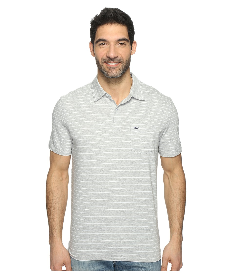 Vineyard Vines - Open Feeder Stripe Polo (Gray Heather) Men's Short Sleeve Pullover