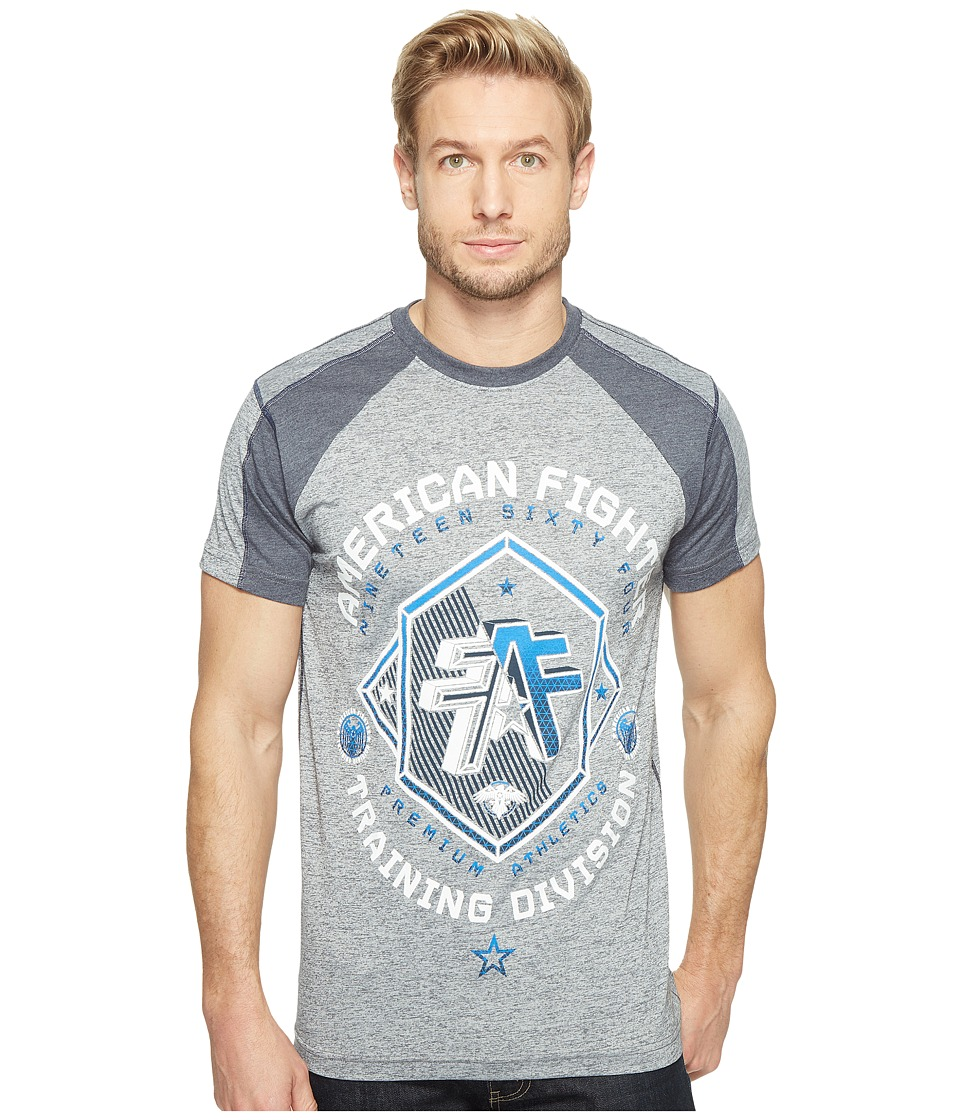 American Fighter - Sioux Falls Short Sleeve Undersleeve Tee (Heather Grey/Navy) Men's T Shirt