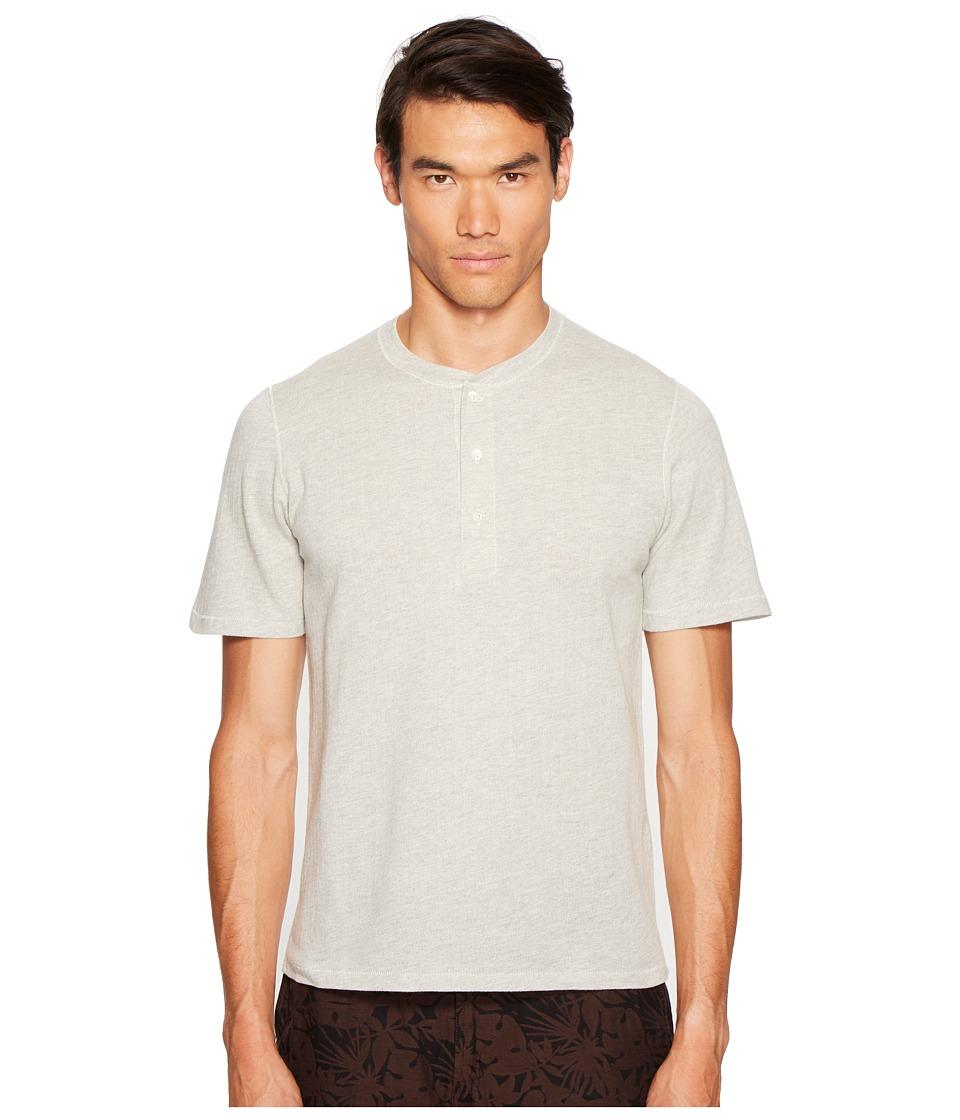 Billy Reid - Short Sleeve Arthur Henley (Light Heather Grey) Men's Clothing