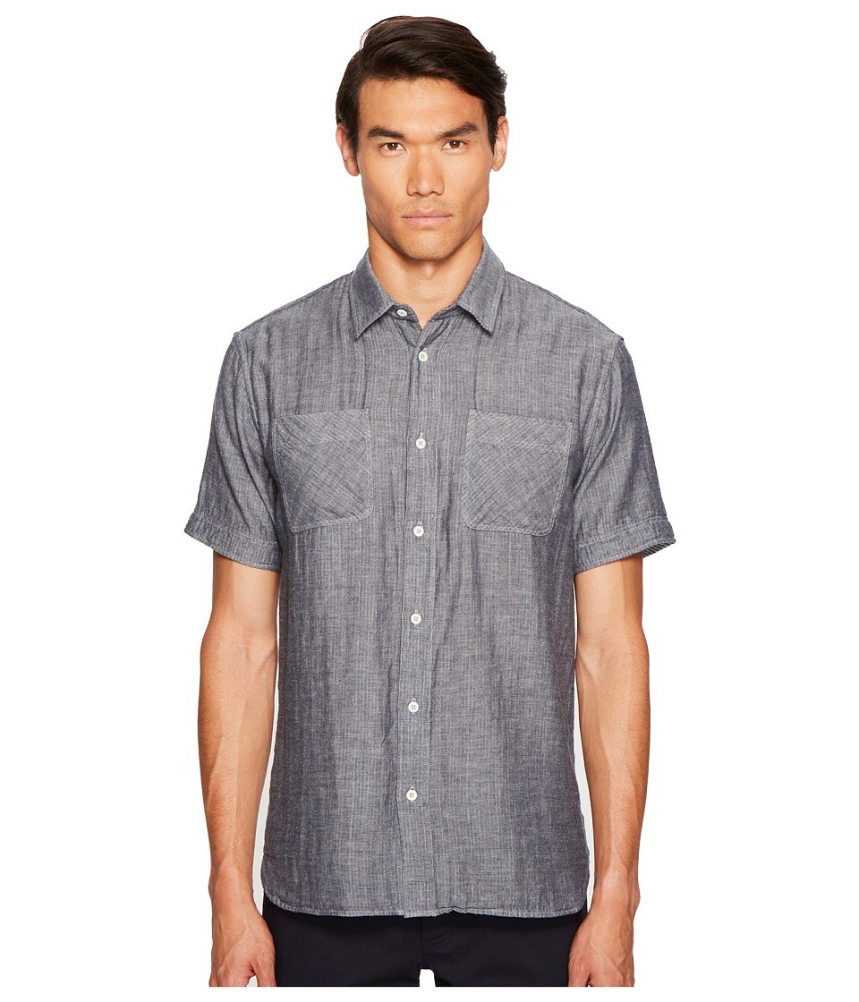 Billy Reid - Clarence Short Sleeve Shirt (Navy/White) Men's Clothing