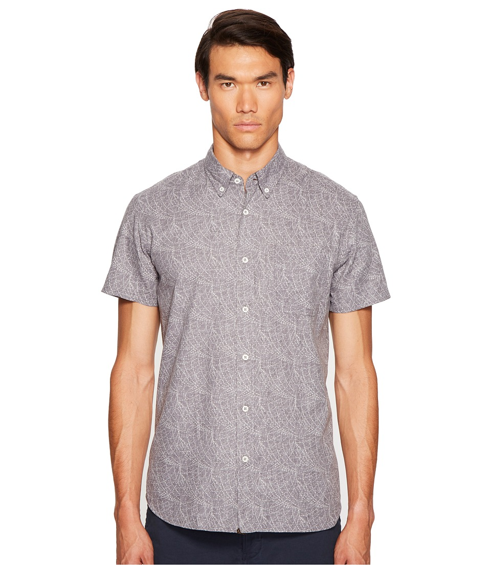 Billy Reid - Short Sleeve Tuscumbia Button Down Shirt (Grey Melange) Men's Clothing