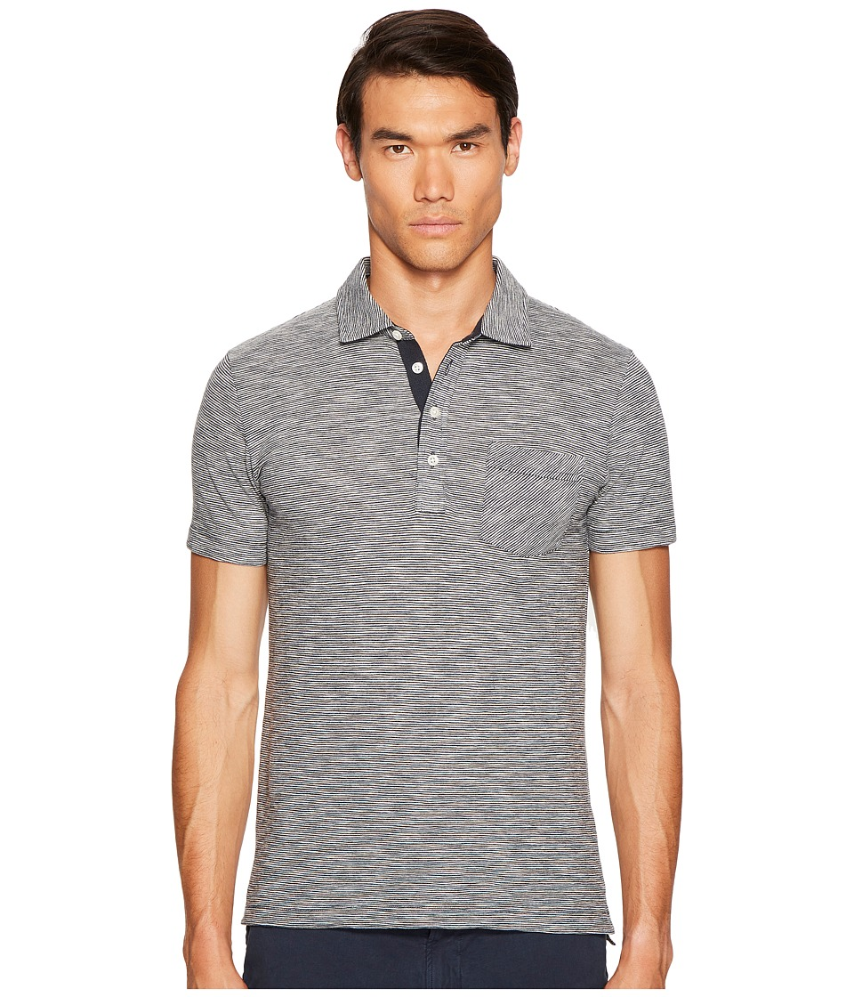 Billy Reid - Ombre Stripe Polo (Navy Mix) Men's Clothing